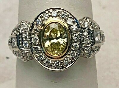 Ladies 18k Canary Diamond Engagement Ring, Natural Oval Center Stone .65 Ct