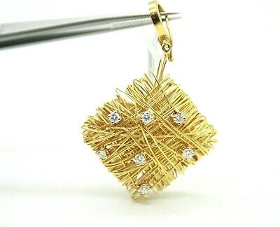 Very Unique 18k Yellow Gold Wire Wrapped Ladies Diamond Pendant.