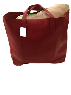 new. ralph lauren purple label. leather red tote/bag. retails $1,950
