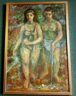"Harry Davis Painting ""shell Gatherers"" By Hoosier Artist Captivating Estate Find"