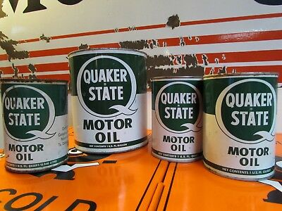 Vintage Quaker State Oil Can * Lot Of 4 * One Real Early One*... 1942 *