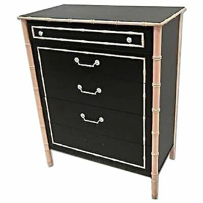 Thomasville Faux Bamboo Lacquer Mid Century Tall Chest Dresser Cabinet Bedroom