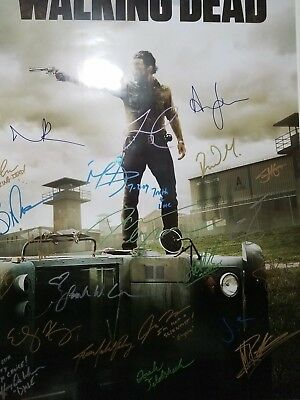 Walking Dead Cast Signed Autograph Poster Andrew Lincoln Norman Reedus 24x36