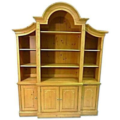Ethan Allen French Country Pine Hutch China Cabinet Breakfront Bookcase Cupboard