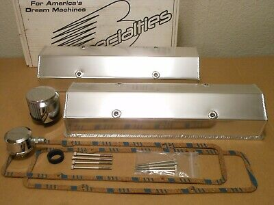 """Chevy Fabricated Aluminum Valve Covers About 4"""" Tall Sbc 302 327 350 383 400 Ss"""