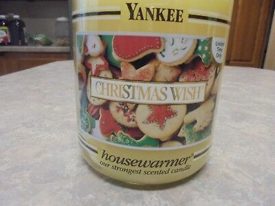 Retired New Yankee Candle 22oz Christmas Wish  Black Band  Rare Hard To Find