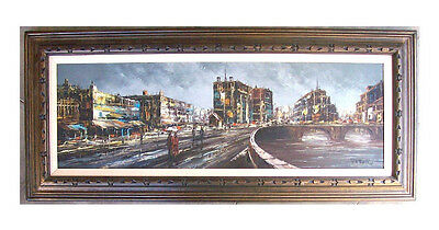 Vintage Abstract Oil Painting Modernist Cityscape Mid Century Modern Signed Mcm
