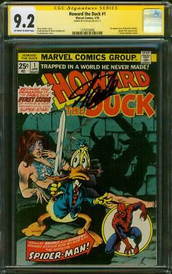 Howard The Duck 1 Cgc Ss 9.2 Stan Lee Signed 1976 Frank Brunner Spider Man Cover
