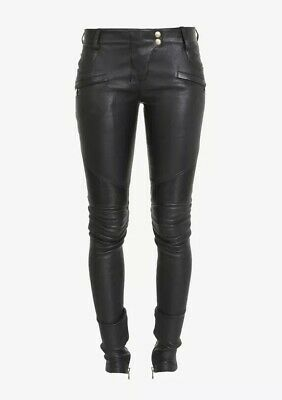 Balmain Leather Pants Ribbed Stretch Biker Celebrity Favorite New Authentic ❤️