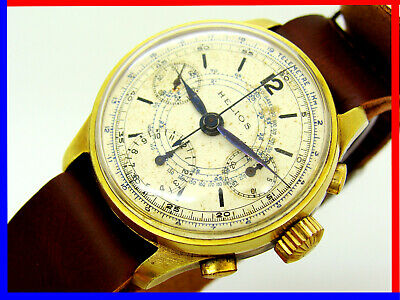 Very Rare Helios Valjoux 71 Chrono From 1940 Years, 20 Microns Gold, Serviced!