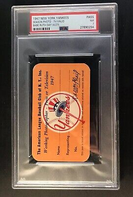 1947 Babe Ruth Day Yankee Stadium  Psa Ticket Pass Nyy World Champ/di Maggio Mvp