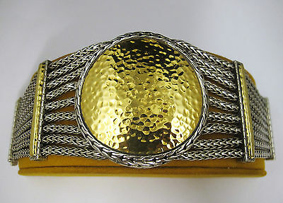 John Hardy Palu Collection Oversized Bracelet Retired 22k Gold 925 Sterling Silv