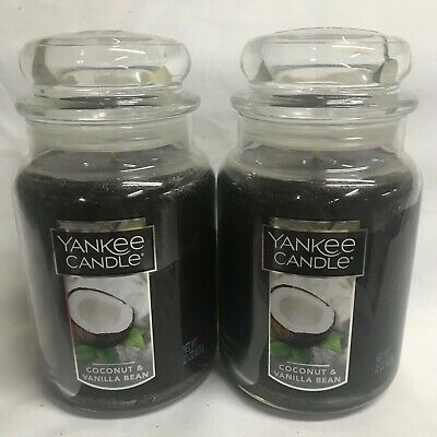 Yankee Candle (2) Coconut & Vanilla Bean Large 22 Oz Jar Candles