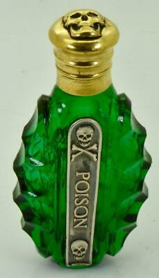 Rare Victorian Green Poison Bottle.gold Plated Skull Cap.silver Warning Label