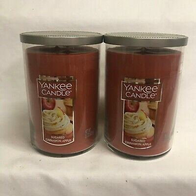 Yankee Candle (2) Sugared Cinnamon Apple Large 22 Oz Tumbler Jar Candles Two!!