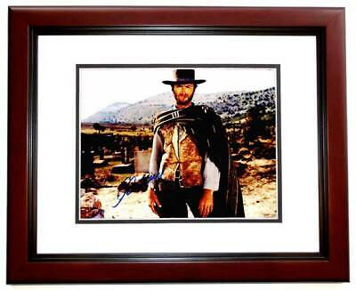 clint eastwood signed the good, the bad and the ugly photo  mahogany frame