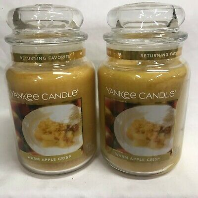 "Yankee Candle (2) Warm Apple Crisp Large 22 Oz Jar Candles ""returning Favorite"""