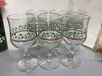 6 Vtg Gibson Housewares Christmas Charm Holly Berries Wine Gloggy Glasses 6 3/4""