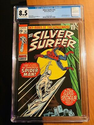 Silver Surfer #14 Cgc 8.5 1970 Ow-w Pages Classic Spider-man Cover!