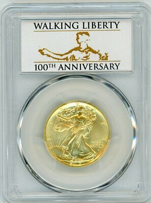 2016-w 50c Gold Burnished Walking Liberty Sp70 Pcgs First Strike 100th Anni