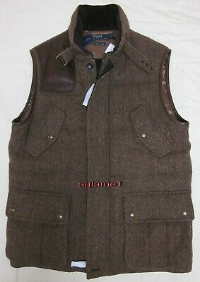 rare polo ralph lauren brown tweed wool leather goose down hunting vest xl $1495