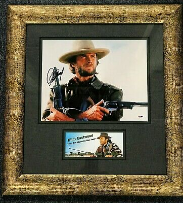 clint eastwood (the good, the bad and the ugly) signed 11x14 framed display psa
