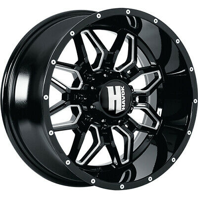 4- 20x10 Black Milled Havok H109  8x6.5 -24 Rims Open Country Rt 325/60/20 Tires