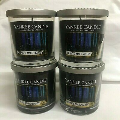 Yankee Candle (4) Dreamy Summer Nights 7 Oz Single Wick Tumbler Jar Candles Four