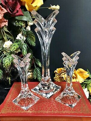 "Mikasa Deco Crystal Candle Holders  - One 9 3/8"" And Two 5 1/2"" Tall - Set Of 3"