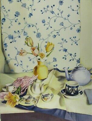 Original Anne Miotke Watercolor Painting Tea Party Framed Signed 30x39 Inch 1995