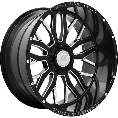 4- 22x12 Black Milled Ax1.0 8x180 -44 Wheels Country Hunter Mt 33 Tires