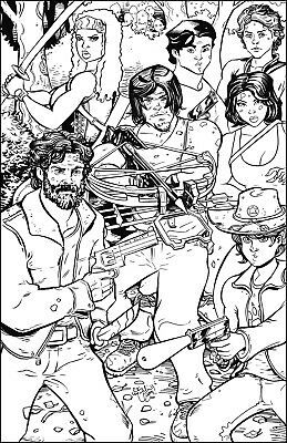The Walking Dead 11x17 Illustration Original Art Daryl Rick Carl Michonne Glenn