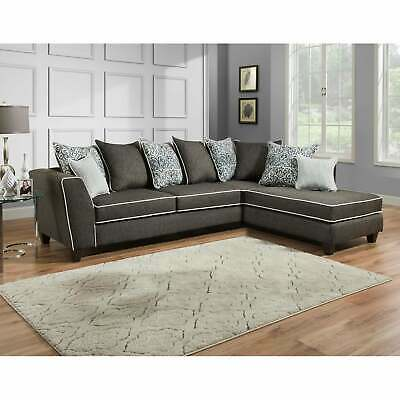 Daryl Vivid Onyx L-shape Sectional Grey