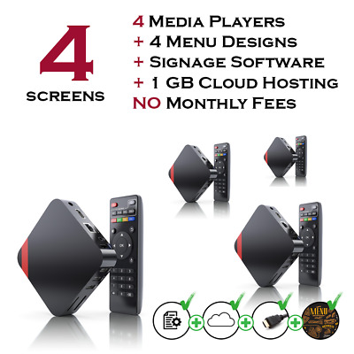 4 Screens Restaurant Digital Menu Players Package With Free Signage Software