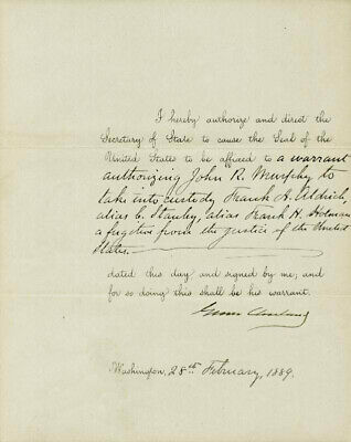 Grover Cleveland - Presidential Warrant Signed 02/28/1889