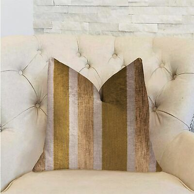 Plutus Golden Tan Lines Gold Luxury Decorative Throw Pillow