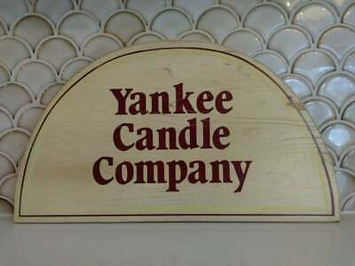 Vintage Yankee Candle Store Display Wooden Sign Old Logo Rounded Farmhouse Decor