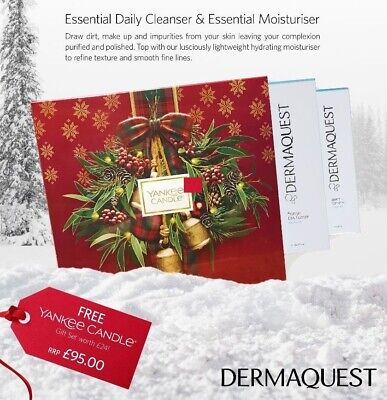 Dermaquest Xmas Kit Ess Cleanser/ Moisture With Free Yankee Candles -rrp Kit £95