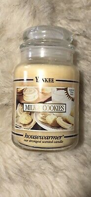 "Yankee Candle ""milk & Cookies"" Black Label And Black Band Large Jar Rare Htf"