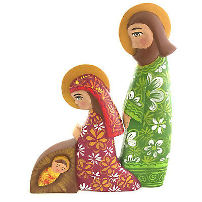 Nativity Scene Christmas Cedar Wood Handmade Carved Hand Painted Colorful Unique