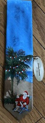 Nwt Tommy Bahama Christmas Motif Tie Santa Beach Palm Tree