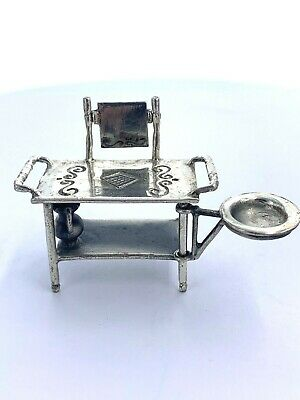 Vintage Sterling Silver Washstand Bowl Pitcher And Mirror Miniature