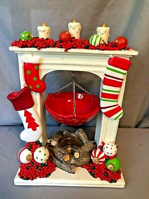 Yankee Candle Christmas Mantle Fireplace Stockings Tart Warmer Tea Light Holder