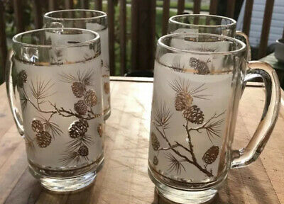 Vtg Barware Beer Mugs Frosted Glass Gold Trim 1960s Dominion Glassware Set Of 4