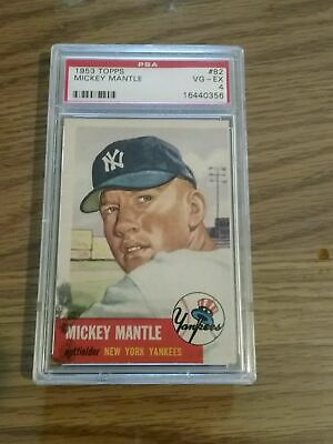 🌟1953 Topps #82 Mickey Mantle Psa 4~very Nice Card~good Eye Appeal~rare Find🌟