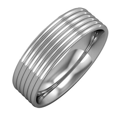 18ct White Gold 6mm Essential Flat-court Ribbed Bevelled Band Wedding Ring
