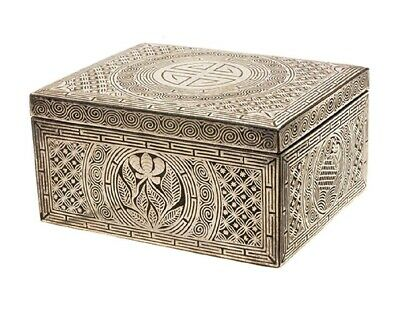 A Very Fine/rare Korean Silver Inlaid Rectangular Iron Box With Cover -19th C