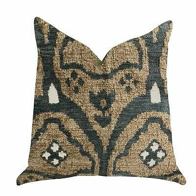 Plutus Tulip Zen Green Taupe Luxury Decorative Throw Pillow Brown, Blue, Beige D