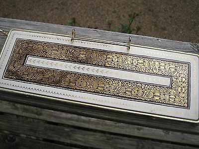 Vtg Gold Brown & White Ceramic Egyption? Style Tile Tray In Metal Footed Frame