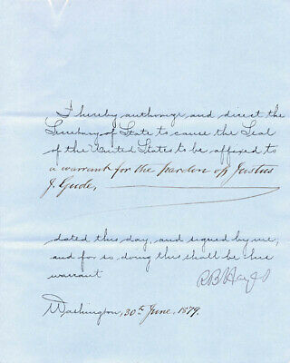 Rutherford B. Hayes - Presidential Warrant Signed 06/30/1879